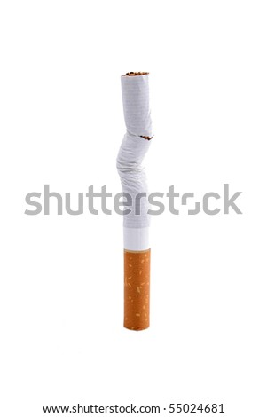 One single and damaged cigarette on a white background.