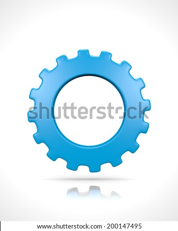 One Single Blue Gear Isolated on White Background 3D Illustration - stock photo