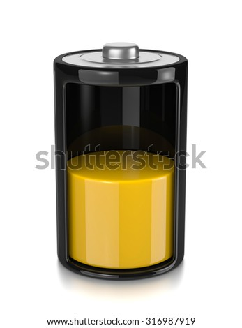 One Single Electric Battery Mid Charge Level Isolated on White Background 3D Illustration - stock photo