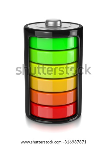 One Single Electric Battery Showing Charge Level Isolated on White Background 3D Illustration - stock photo