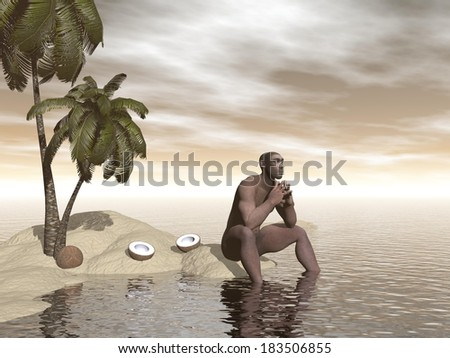 One single homo erectus sitting alone on a beach island next to coco nuts and thinking - stock photo