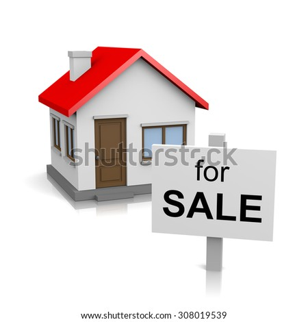 One Single House with for Sale Text Notice on Signboard on White Background 3D Illustration - stock photo