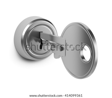 One Single Metal Key Inserted in a Door Lock on White Background 3D Illustration - stock photo