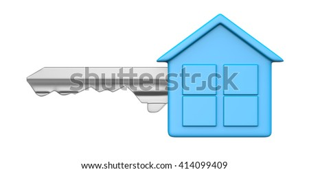 One Single Metal Key with Blue Plastic Head in the Shape of an House Isolated on White Background 3D Illustration - stock photo