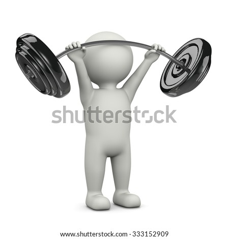 One Single Weightlifting White Character Standing Lifting Weight Bar 3D Illustration on White Background - stock photo