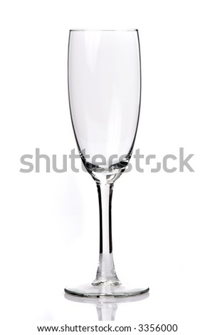one single wineglass isolated over white with small reflection