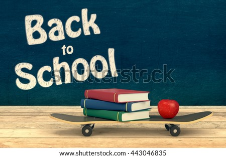 one skateboard with books and an apple, concept of back to school, chalkboard background with empty space at the right of the image (3d render)