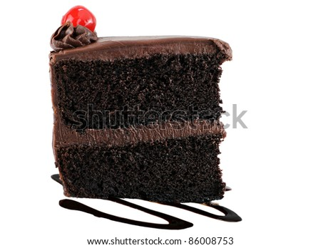 One slice of delicious chocolate cake with chocolate icing and a cherry on top.  White background with copy space. - stock photo