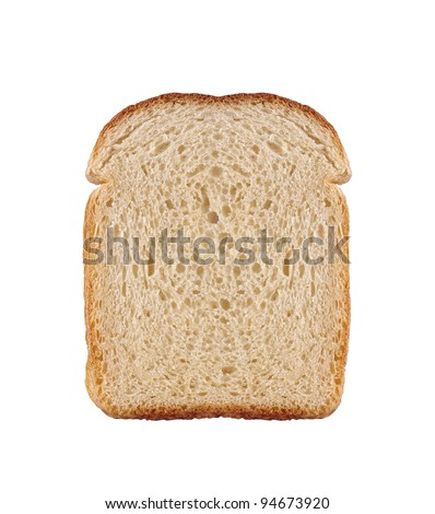 one slice of wheat bread isolated on white - stock photo