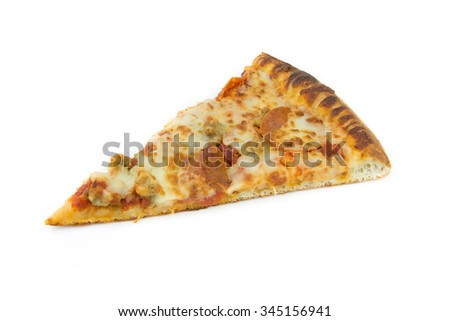 one slice pizza, isolate white background top view