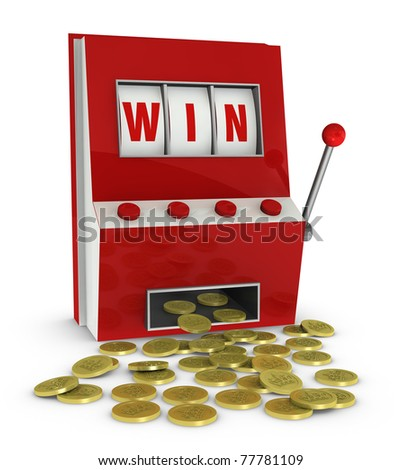 one slot machine with the word win and a lot of coins that go out of it (3d render)