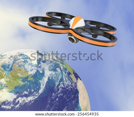 one small drone with a camera, flying over the earth, concept of privacy (3d render) - Elements of this image furnished by NASA - stock photo