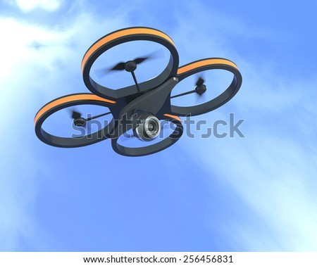 one small drone with a camera with sky on background, also concept of privacy (3d render) - stock photo