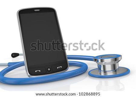 one smartphone and a stethoscope; concept of computer repair or medical technologies (3d render) - stock photo