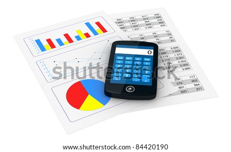 one smartphone with a calculator application and 2 papers with spreadsheet and charts (3d render)