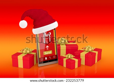 One smartphone with a Christmas hat, an app for online gifts and some gift boxes around it (3d render) - stock photo