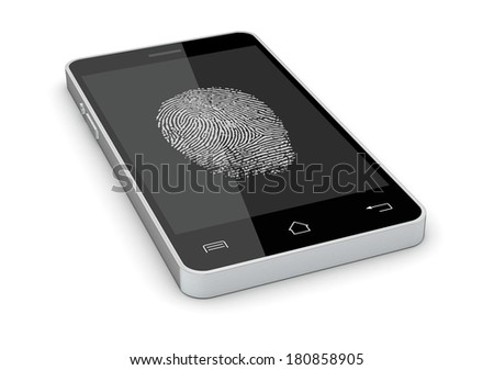one smartphone with a fingerprint on the screen, concept of privacy and safety (3d render) - stock photo