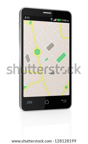 one smartphone with a gps map (3d render)