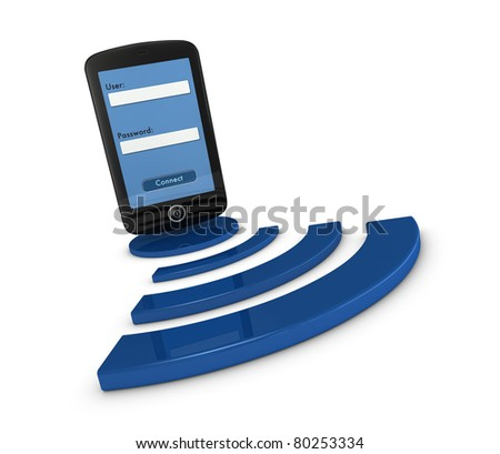 one smartphone with a login screen over the symbol of wifi connection (3d render) - stock photo