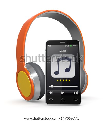 one smartphone with a music player application and colorful headphones (3d render) - stock photo