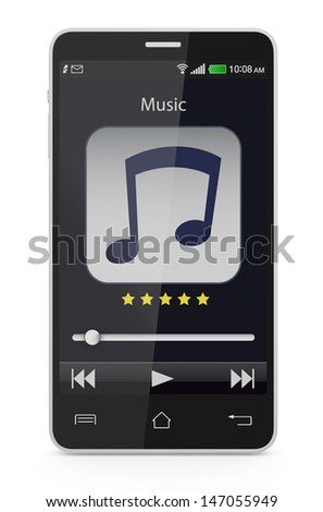 one smartphone with a music player application (3d render) - stock photo