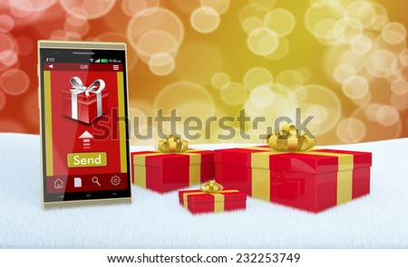 one smartphone with an app for online gifts and some gift boxes (3d render) - stock photo