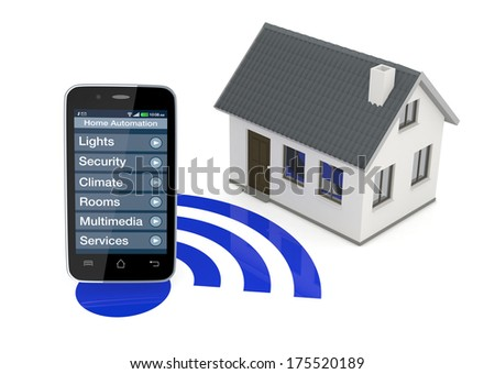 one smartphone with an home automation app and a small house (3d render) - stock photo