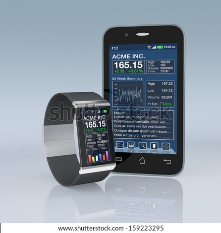 one smartwatch and a smartphone with a stock market software (3d render)