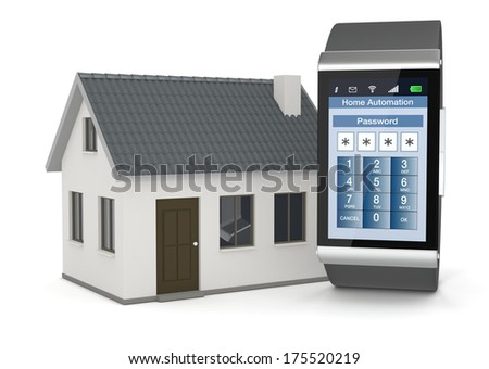 one smartwatch with an home automation app and a small house (3d render) - stock photo