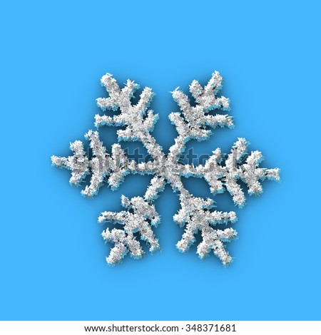 One snowflake made with several small snowflakes - stock photo