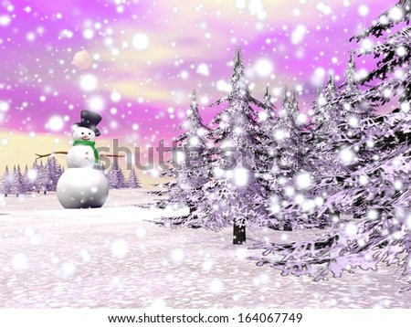 One snowman standing in a winter landscape with falling snow covering mountains and fir trees by sunset light - stock photo