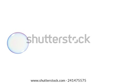 One soap bubble on a white background - stock photo