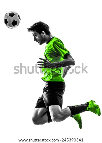 one soccer football player young man in silhouette studio on white background - stock photo