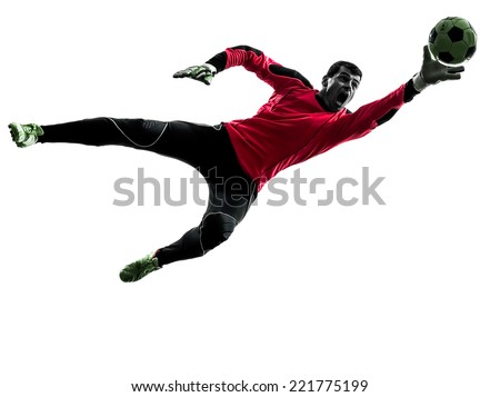 one  soccer player goalkeeper man catching ball in silhouette isolated white background - stock photo