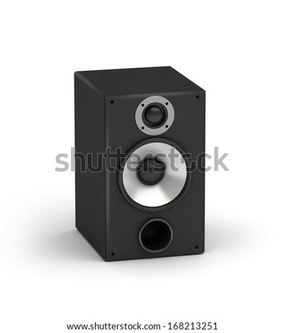 One speakers  hi-fi audio system on white background