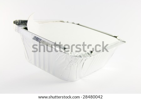 One square foil partly opened catering tray on a white background
