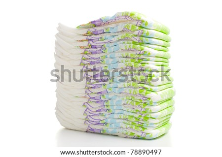 One stack of diapers over white background - stock photo