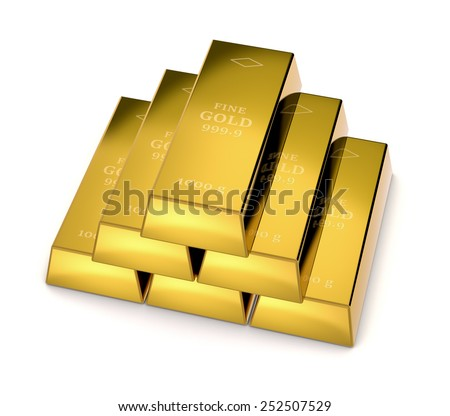 one stack of gold bars on white background (3d render)
