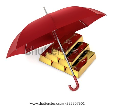 one stack of gold bars with an umbrella, concept of protecting your investment (3d render) - stock photo