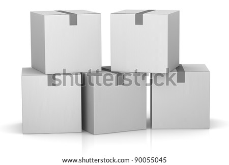one stack of white card boxes (3d render) - stock photo