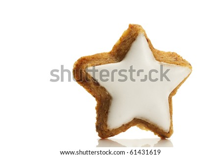 one star shaped cinnamon biscuit on white background - stock photo