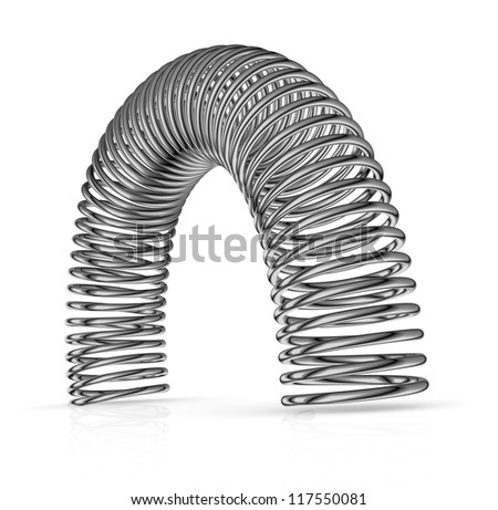 one steel spring with semicircular shape (3d render) - stock photo