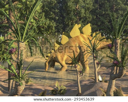 One stegosaurus dinosaur drinking water in a pond among wollemia and williamsonia trees - 3D render