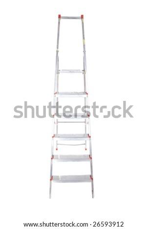 one stepladder on white background - stock photo