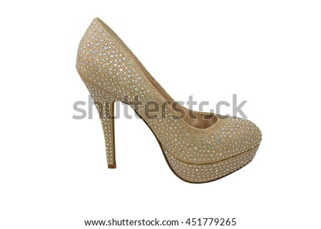 One stiletto high heel gold-coloured shoe, covered in sparkling gems, isolated on a white background - stock photo