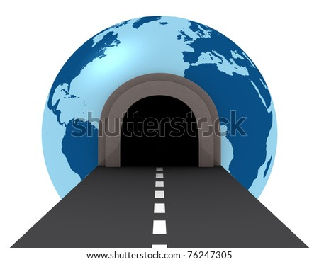 one street with a  tunnel that pass across a globe (3d render) - stock photo