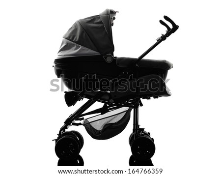 one stroller  prams baby carriage silhouette on white background - stock photo