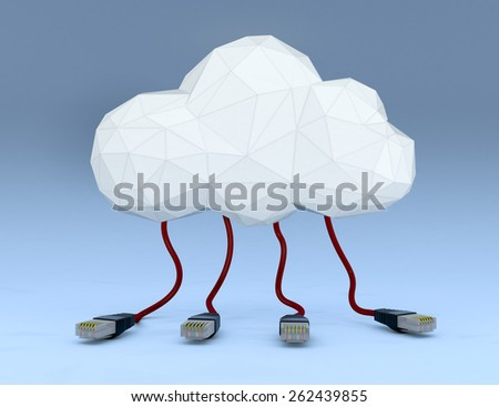 one stylized cloud made with the technique of lowpoly modeling, with network cables connected to it, blue background (3d render) - stock photo