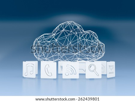 one stylized cloud made with the technique of wireframe modeling, computer icons around it,  faded blue background (3d render) - stock photo