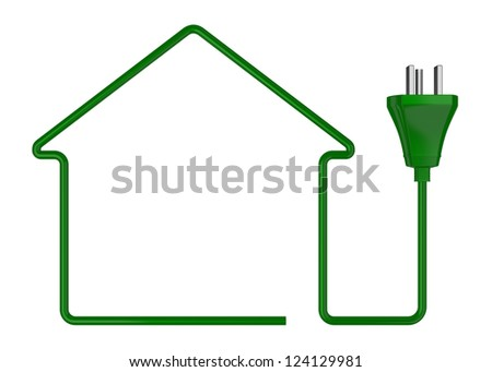 one stylized house made with an electric cable (3d render) - stock photo